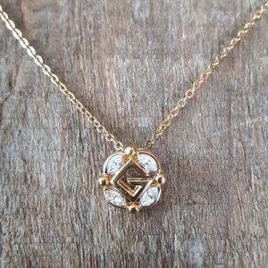 Vintage Givenchy Gold Crystal Logo Necklace